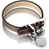 Hennessy & Sons Hand Made Royal British Saddle Leather Dog Collar with White Stitching, 38 - 46 x 2.2 x 0.3 cm, 66 g, Chocolate Brown