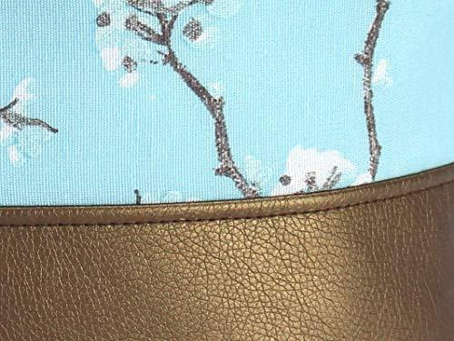 Blauer Rucksack mit goldenem Boden. Canvas Seesack mit Kirschblüten - 2