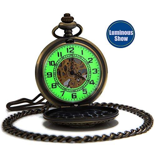 SEWOR Vintage Gentleman Mechanical Hand Wind Pocket Watch Luminous Dial Magnifier Glass (Hollow Bronze)