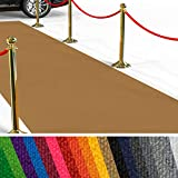 etm Hochwertiger Messeteppich Meterware | Rollteppich VIP Eventteppich, Hollywood Läufer, Hochzeitsteppich | 18 Farben in 23 Größen | Ocker - 100x250 cm