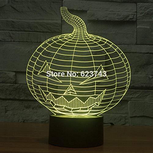 er 7 Farben Ändern Halloween Böse Kürbis Acryl 3D Led Nachtlicht Usb Dekorative Tischlampe Baby Schlaf Stimmung Lampe ()