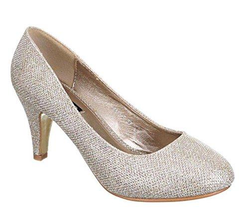 King Of Shoes Klassische Damen Glitzer Pumps Stilettos Abend Schuhe Party Hochzeit (37, Gold)