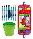 Faber-Castell Schulstartpaket: 125030 - Farbkasten CONNECTOR mit 12 Farben, inklusive Deckweiß, 7 Faber-Castell Clic&Go Pinsel und Wasserbecher CLIC&GO hellgrün