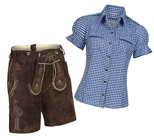 Damen Set Trachten Lederhose Shorts dunkelbraun kurz + Träger + Trachtenbluse Mala 38 Blau Weiß Kariert 40