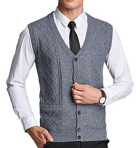 DD.UP Herren Einfarbig V-Ausschnitt Argyle Muster breasted Pullunder Weste strickweste Cardigan mit Tasche