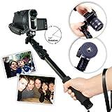 First2savvv ZP-188A01 black Self-portrait extendable telescopic handheld Pole Arm monopod Camcorder/Camera/mobile phone tripod mount adapter bundle for SAMSUNG HMX-F90WP