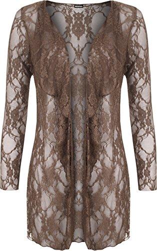 WearAll - Damen Übergröße floralen schnüren öffnen cardigan langarm wasserfall Top - 6 Farben - Größe 40-54 Mokka