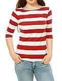 Allegra K Damen Slim Fit Elbow Sleeves U-Boot Ausschnitt Streifen Top Bluse, S (EU 38)/Rot