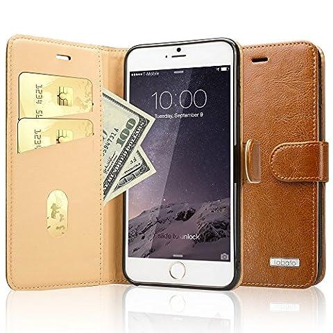 Coque iPhone 6/6S Plus, Labato Housse Etui Portefeuille en Cuir pour Apple iPhone 6 / 6S Plus 5,5 Pouces Wallet Case Fonction Support Lbt-I6L-04Z20-FR Marron