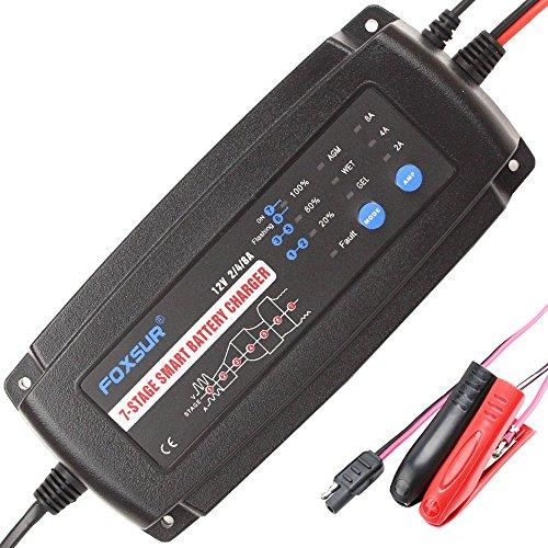 Caricabatterie intelligente FOXSUR 12V 2A 4A 8A 7 fasi, GEL WET AGM Tipo di batteria e corrente di carica selezionabile, Caricabatterie per auto, Caricabatterie per moto