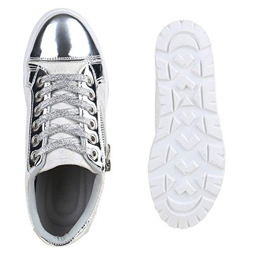 Damen Sneakers Plateau Keilabsatz Metallic Zipper Schuhe Silber Glanz