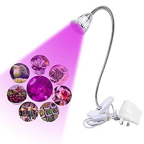 Asvert Pflanzenlichter LED Pflanzenlampe 5W 5 LEDs 360° einstellbar Pflanzenlicht zum Wachstum und Blüte mit EU-Stecker