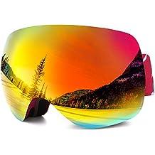DAS Leben Gafas de esquí profesional anti-niebla 100% Protección contra UV Apto para Deportes de Esquí Invierno (hombres / mujeres / niñas / niños )