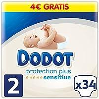 Dodot Pañales Protection Plus Sensitive, Talla 2, para Bebes de 4-8 kg - 34 Pañales