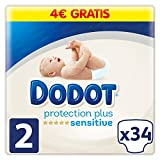 Dodot Pañales Protection Plus Sensitive, Talla 2, para Bebes de 4-8 kg - 34 Pañales