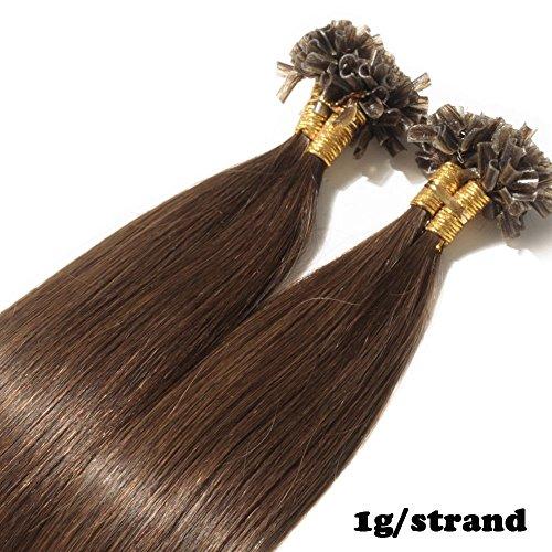 Extensions Echthaar Bondings 1g 100% Remy Echthaar Haarverlängerung Keratin Bonding 50 Strähnen 50cm (#4 mittelbraun)