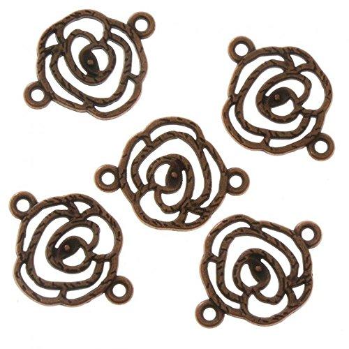 Accessoires création connecteurs Bijoux Fleur Rose (5 pièces) Cuivre