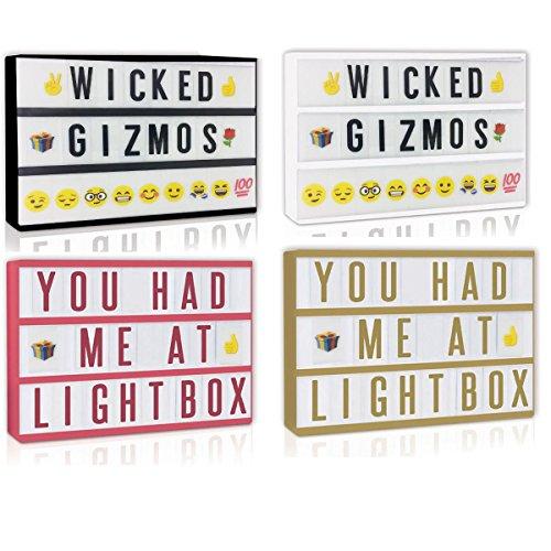 WICKED GIZMOS®: A4LED-Leuchtpult mit Kino-Beleuchtung und Buchstaben, USB, Kinoplakat-Shop für Hochzeitsparty. Leben und Schaffen personalisierter Mitteilungen für jeden Tag oder für besondere Anlässe, mit 200 Buchstaben, Zahlen und Symbolen, Stromversorgung - Gizmo Hat