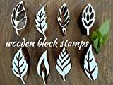 #10: wooden block stamps 2 inches leaf 8pcs design printing block hand carved fabric printing block textile printing henna block scrapbook print and home decor etc