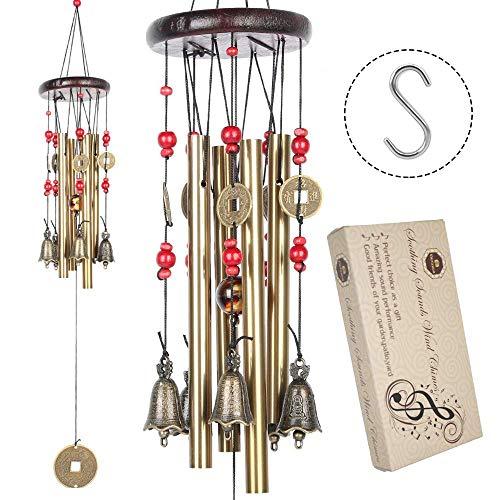 Cinese tradizionale stupefacenti 4 tubi 5 campane di bronzo Yard Garden Outdoor Living Wind Chimes 60cm