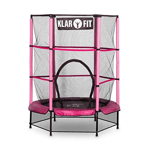 Klarfit Rocketkid Trampolin Gartentrampolin (140 cm Durchmesser, verschließbares Sicherheitsnetz, Bungeeseil-Federung, bis max. 50 kg belastbar, Stangen gepolstert) pink -
