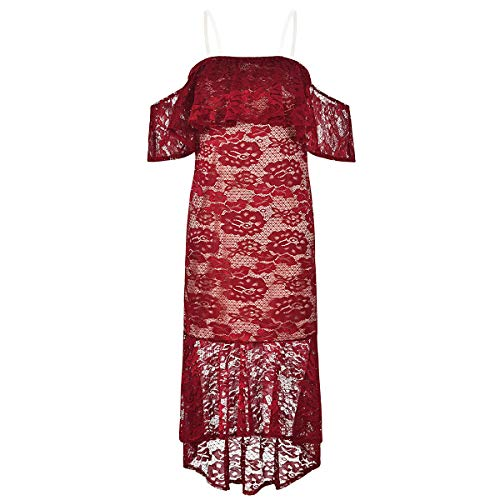 Women Summer Dress Sexy Embroidery Floral Splice Off Shoulder Long Lace Holiday Formal Dress for Party - Size XL (Red)