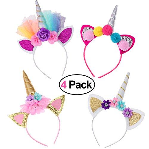 Frcolor Haarreif Einhorn Stirnband mit Unicorn Horn Haarschmuck mit Ohren für Ostern Geburtstag Birthday Party, 4er - Einhorn Kostüm Hut