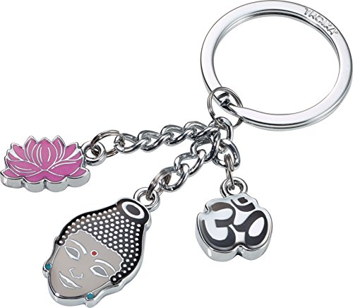 TROIKA Schlüsselanhänger MINDFUL - KR16-12/CH - 3 Charms: Buddha, Lotusblüte, OM-Zeichen - Buddhismus, Siddhartha Gautama - Meditation, Wiedergeburt - Ausgleich - das Original von TROIKA