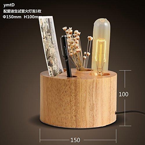25-FANYUHONG Kreative alte Lampen der Tischlampe-Massivholz-hölzernen Persönlichkeit Retro- Schreibtischlampe, die Glühlampe des Café in vitro-Feuers (Color : The fire test tube lamp)