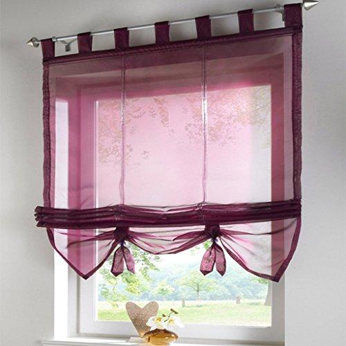 SIMPVALE Raffrollo mit Schlaufen Gardinen Voile römischen Liter Fall Schatten Transparent Vorhang für Balkon und Küche, Weinrot, 120cm (Breite) x155cm (Höhe)
