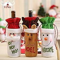 YANX 2018 Navidad Cubiertas de Botellas de Vino 3 Unids Botella de Vino Tinto Bolsas Champagne