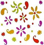 alles-meine.de GmbH 55 tlg. Set: Gel Sticker -  Bunte Blumen & Blüten  - z.B. für Gläser, Fenst..