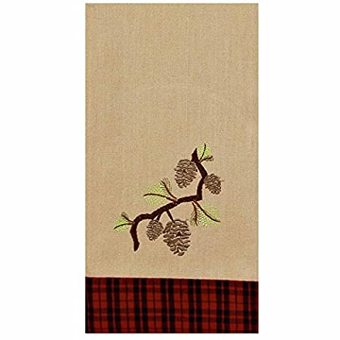 Home Collection by Raghu ETRE0165 Cabin Country Pinecones Lodge Towel, 18
