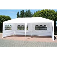 FoxHunter Waterproof 3m x 6m PE Gazebo Marquee Awning Party Tent Canopy White 120g PE Power Coated Steel Frame 18