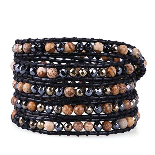 kelitch synthetisch muster jasper perlen armband multi strands handmade weben armreifen jasper - Perlen Weben Muster