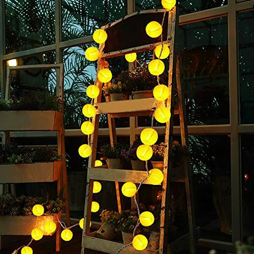 Kriogor Solar Lampions Outdoor, 4.8m 20 LED IP65 Laternen Lichterkette Aussen für Indoor, Party, Garten, Terrasse (Warmweiß) (Outdoor-gras Dach)