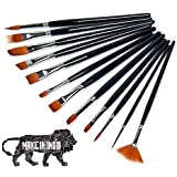 RIANZ Painting Brushes Set of 12 Professional Round Pointed Tip Nylon Hair Artist Acrylic Paint Brush for Acrylic/Watercolor/