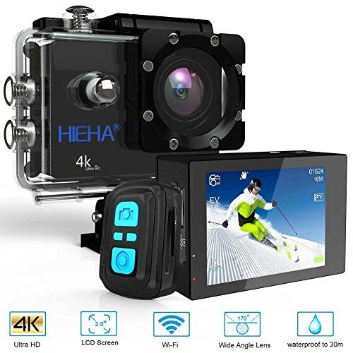 Hieha®Caméra Sport DV Caméra d'Action Action Cam Étanche 30M Lentille Sony IMX078 4K 20MP Ultra HD WIFI Anti-shake Grand Angle 170°Écran LCD 2.0'' Mémoire Maximale 128 Go avec Télécommande avec Kit d'accessoires Caméscope Appareil...