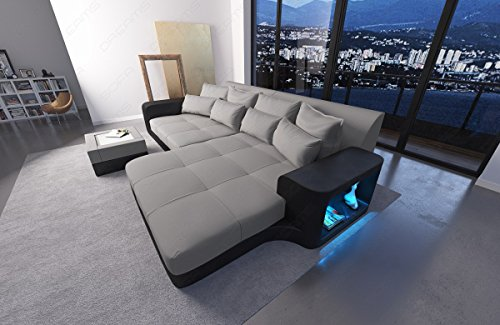 BIGSOFA MEGASOFA BIG SOFA U201cMILANOu201d WITH LED RGB LIGHTING MATERIALMIX LEATHER  FABRIC MIX ...