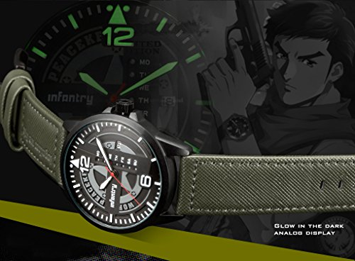 INFANTRY® Herren Analoges Quarzwerk Armbanduhr Outdoor Sport Analog Nachrich Army Echtleder World Peacekeepers - 4
