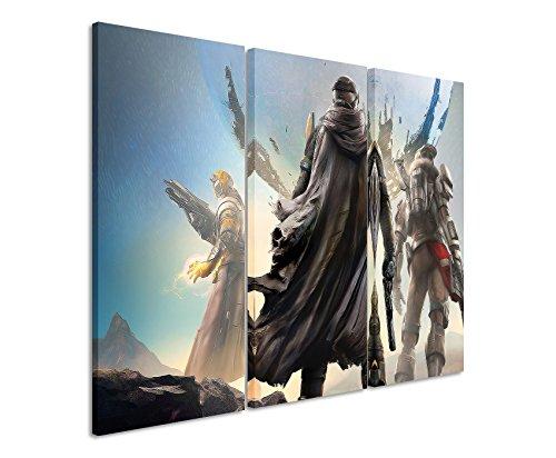 Quadro su tela 3pezzi Destiny _ 3_ Game _ 3x 90x 40cm (totale 120x 90cm) _ Versione Bella Stampa Artistica Su vera tela come un murale su telaio