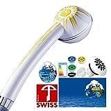 Sonnen-Energie-Duschkopf! Duschbrause SOLEIL mit druckerhöhendem Duschstrahl, wasser- und energiesparend, kalkfrei, 3 Mengenregler für 4 Durchflussmengen, Aufsatz für weichen Regenstrahl; Made in Switzerland direkt vom Hersteller Aquaclic