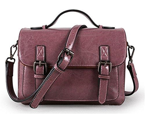 Xinmaoyuan Borse donna in pelle retrò borsette da donna in pelle Tracolla Messenger Bag,marrone Viola