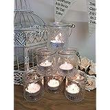 Set de 6Vintage–Portavelas (Cristal tarros de colgante, diseño de velas decoración de la boda