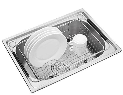 Edelstahl über Spüle Dish Trocknen Drainer, für die Küchenspüle – zum Trocknen von Gläsern, Besteck, und Tellern Geschirrspüler Korb mit Besteck Tablett - flexibler Einsatz über Waschbecken möglich (Sieb Waschbecken über)