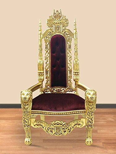 Barock Sessel Stuhl Thron Prunksessel Antik Stil Blatt gold Bezug rot antik Stil Massivholz....