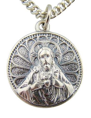 Argent Tonique Base Scapulaire sacré Cœur Jésus Notre Dame du Mont Carmel Médaille, 7/20,3cm