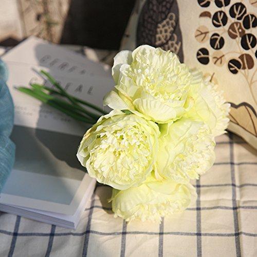 Hniunew Möbel Hause Blumen Deko KüNstliche GefäLschte Blume Der Hellen KüNstlichen Blume des KöPfchens Pflanzen Seidenblumen Strauß Braut 5 KöPfe Seidenblumen Rose Blumengarten Nach Hochzeit