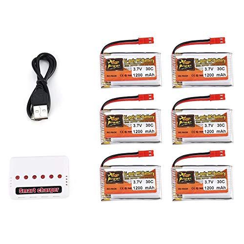 PETUNIA 6Pcs ZOP Alimentation 3.7V 1200mAh 30C JST Plug Batterie Lipo avec Chargeur 6 en 1 - Blanc