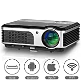 Hagaplast EUG Smart Home Cinema LED LCD WiFi Projector HD Online TV Video Xbox Airplay USB Wireless for iPad, Mobile Phone, Laptop 3800 Lumen LED Beamer